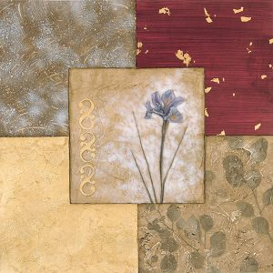 Floral flower botanical mauve flower abstract squares