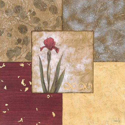 Floral flower, botanical rose tulip, abstract squares